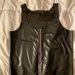 Black latex rubber zip front tank top size XL